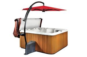 A perfectly shaded swim spa with a sunbrella