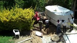 Above ground swim spa installation